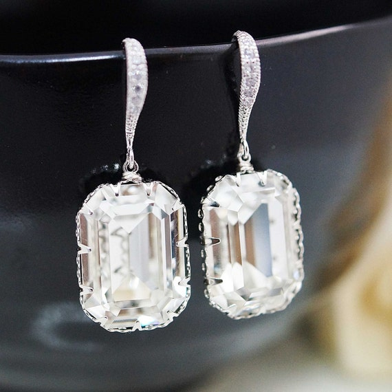 Wedding Bridal Jewelry Bridal Earrings Bridesmaid Earrings Cubic Zirconia Ear wires and Swarovski Crystal Rectangle drops dangle earrings