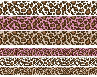 "1 yard - 22mm (7/8"")/38mm (1.5"") wide natural/hot pink/white leopard animal print grosgrain ribbon"