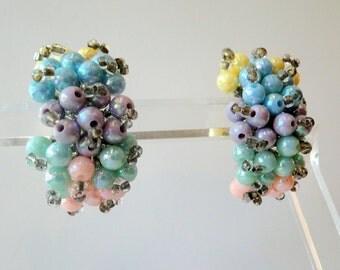 SALE Iridescent Earrings Pierced Plastic Multi Color 1950 Bubbles