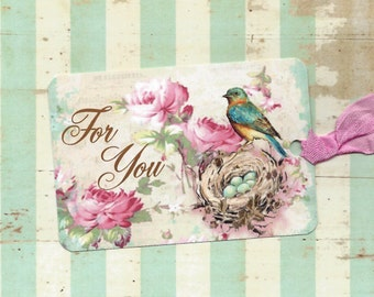 Tags Blue Bird & Roses For You Gift Tags