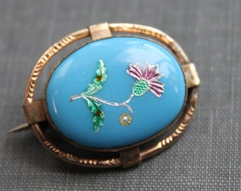 Victorian Turquoise Pique Scottish Thistle Brooch / Persian Turquoise Enamel Inlay Pin