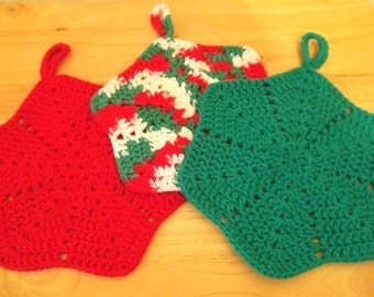 Potholder - Crocheted Hexagon Potholder in the Colors of Christmas - Choose Your Favorite Color - Decorate Your Kitchen for Christmas