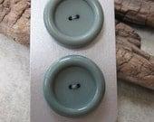 2 Vintage Dark Grey Buttons