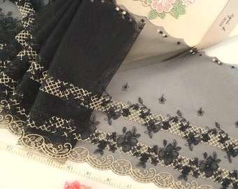 Embroidered lace, Embroidered tulle lace, Embroidered net fabric, Black Gold lace, Bridal lace, 2 yard + gift BK122