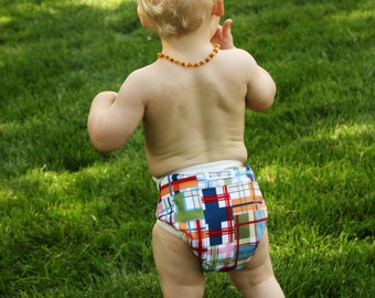 One Size AI2 Cloth Diaper Cover -Madras- FAST SHIPPING