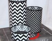 Black White Desk Accessories - Chevron Damask Polka Dot Pencil Holder - Pencil Cup - Desk Organization - Office Decor - Dorm Decor - 619
