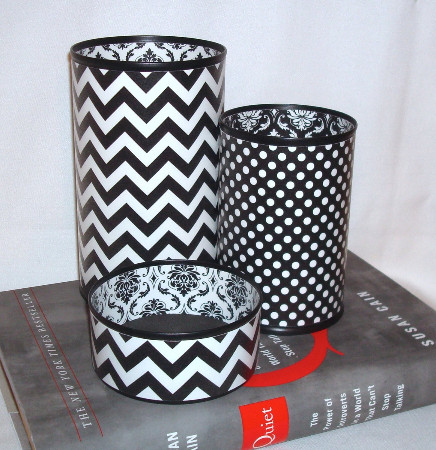 Black White Desk Accessories Chevron Damask Polka Dot Pencil
