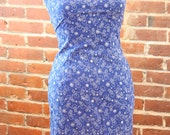 Royal Blue Snowman Sheath Dress with Icicle Lace