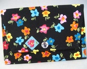 PHOTO POCKET ENVELOPE Purse Holder in Bright Blooms Print -  Ready to Ship