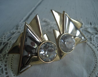 Vintage Gold and Silver Triangles Rhinestone Clip Earrings Modernist Native Tribal Inspired