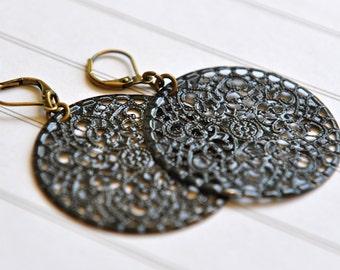 Black Earrings Filigree Earrings Classic Black Jewelry Australian Earrings