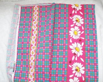 Vintage Fabric hot pink & teal plaid, daisies, Fabric Traditions, unique 1 yard plus skirt