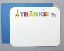 Safari Wild Animals Baby Shower (Thank You) A2 Flat Note Cards (Set of 10)