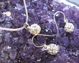 Vintage  Retro Rhinestone Ball Silver Pendant & Earrings Set / Disco Ball Pendant With Earrings Set