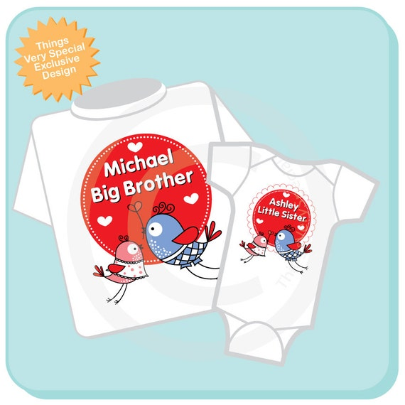 Valentine s big brother and little sister shirt or onesie set of two