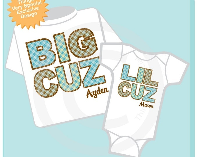 Set of 2 Personalized Big Cousin and Little Cousin Shirt or Onesie Pregnancy Announcement (06272013a)