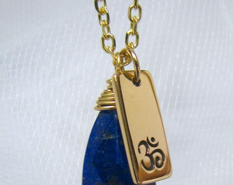 Yoga Jewelry, Ohm Charm, Necklace, Lapis LazuliFaceted Drop, Ready to Ship
