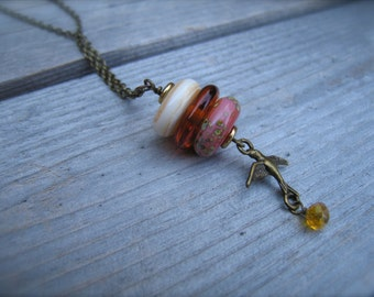 Handmade Lampwork Bead Necklace Antique Brass with Bird Charm SRA