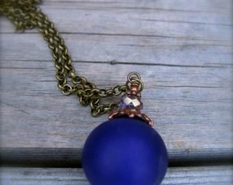 Handmade Glass Lampwork Hollow Bead Acid Washed Necklace on Antiqued Chain
