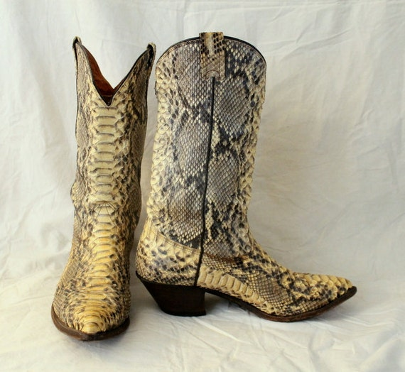 Nocona Full Python Snake Cowboy Boots Natural Vintage