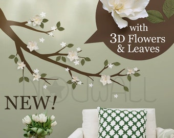 Magnolia Branch with white 3D flowers and sage green leaves , Flowers, Tree, Branch Wall Decal wall sticker ,Wall Art - 125