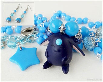 Black Mokona Necklace and Earrings, Jewelry Set, Beaded Rosary Chain, Blue - Anime Jewelry, Magical Girl