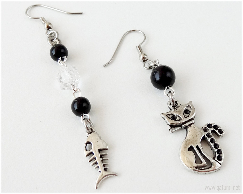 Cat and fish bone earrings very long surgical steel kawaii for Fish bone earrings