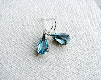 Aqua Glass Jewel Earrings Vintage Style Cut Glass Gems Tear Drop Sterling Silver March Birthday Minimalist Modern Bridal Jewelry Sp