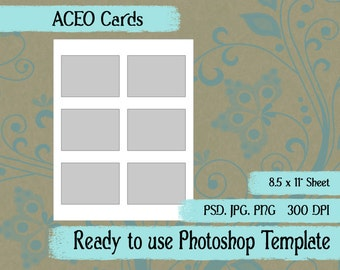 Scrapbook Digital Collage Photoshop Template, ACEO Cards