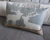hand printed eau de nil stag pair cushion cover