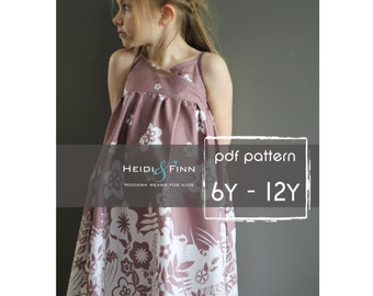 Summer Maxi Dress pattern and tutorial PDF 6y-12y easy sew long tank dress tunic