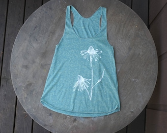 Echinacea Flowers Hand Drawn Design on American Apparel Racer back Teal Heather Aqua Tank Top For Women