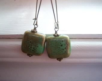 Stone Earrings - Earthy Earrings - Green Earrings