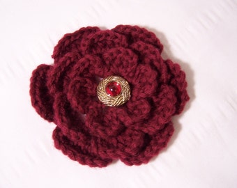 Flower crochet motif 3.5 inch burgundy