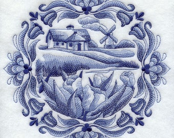 DELFT COUNTRY COTTAGE - Machine Embroidery Quilt Blocks (AzEB)
