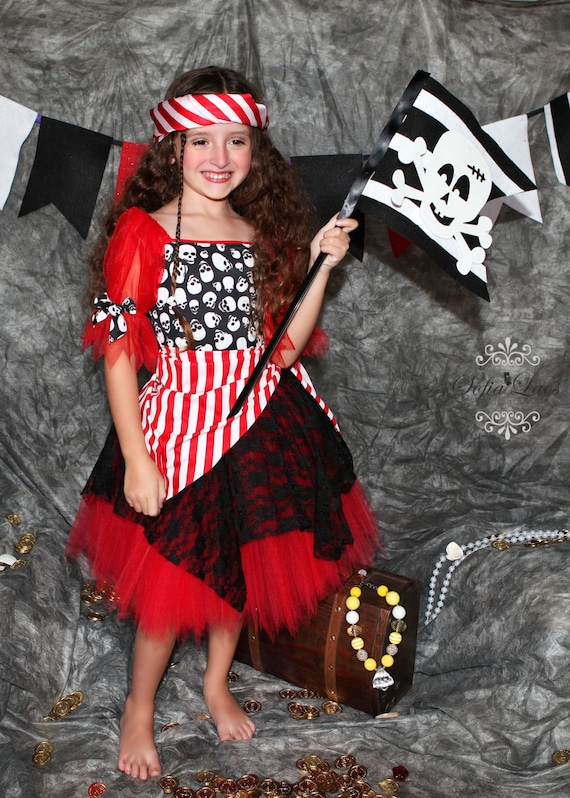 RESERVED  Red Pirate skull tutu Halloween costume 8 size 6 pirates
