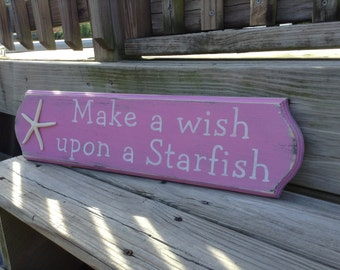 Starfish Make a Wish Sign Coastal Cottage Beach Decor Baby Nursery Decor PINK