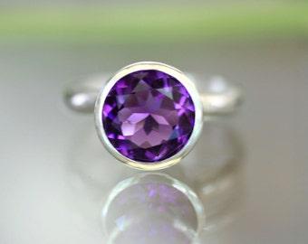 African Deep Purple Amethyst Sterling Silver Ring / Halo Ring / Gemstone Ring /  In No Nickel / Nickel Free - Made To Order