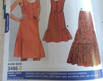 Kwik Sew 3495 Misses Skirts and Vest