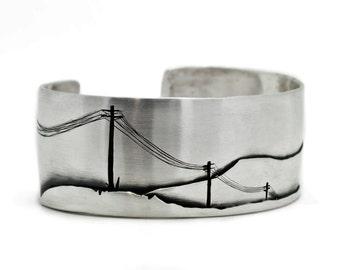 Powerlines Cuff, Sterling Silver Bracelet, Mountain Landscape