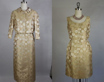 1960's Vintage Kreinick Gold Jacquard Set, Wiggle dress and Gown with Jacket