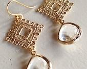 Crystal Crochet Gold (handmade beaded earrings)