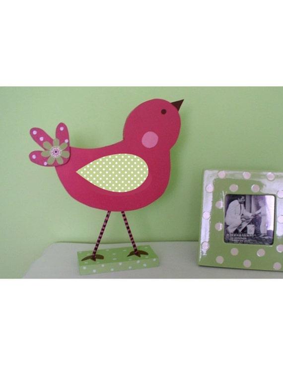 bird nursery decor, nursery decor, pink bird, wooden bird, kids room decor, bird shelf sitter, bird figurine, bird statue, bedroom decor