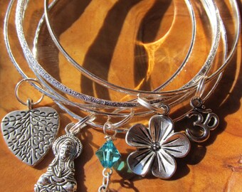 Buddha Bangle Bracelet Set with Goddess of Compassion, Heart Tree of Life, Lotus Flower, Om and Crystal Leaf Dangle- Buddhism, Yoga
