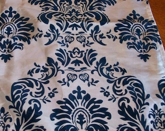 Damask Royal Blue  or Navy Table Runner Taffeta Flocking Fabric various sizes