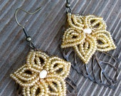 Golden Shimmer - French Beaded Flower Bridal Bridesmaid Earrings