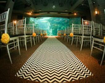 Wedding Aisle Runner Black and White Chevron Runner StripeZig Zag Isle Runner Ceremony Decoration Real Fabric Runner