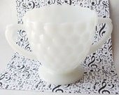 Fire King Bubble open sugar 2 handle cup Midcentury milk glass collectible glass