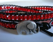 Red Beaded Leather Wrap Bracelet with Elephant Bracelet