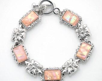 Mother of Pearl Flower Design Rectangle Pink Abalone Shell Link Bracelet
